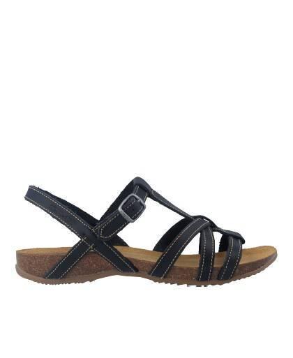 Sandalias para mujer en color azul marino Caracteristicas con hebilla altura de piso 2 cm zapato de estilo casual suela de goma
