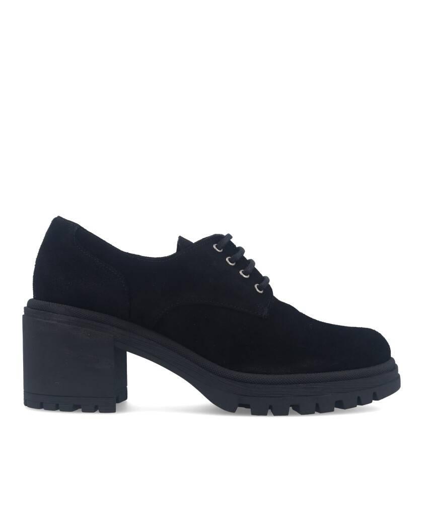Zapatos para mujer en color negro Caracteristicas con cordones tacon 7 cm zapato de estilo casual suela de goma termoplastica e
