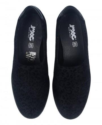 Catchalot Zapatos casual sin cordones para mujer con print de leopardo negro Imac 406290