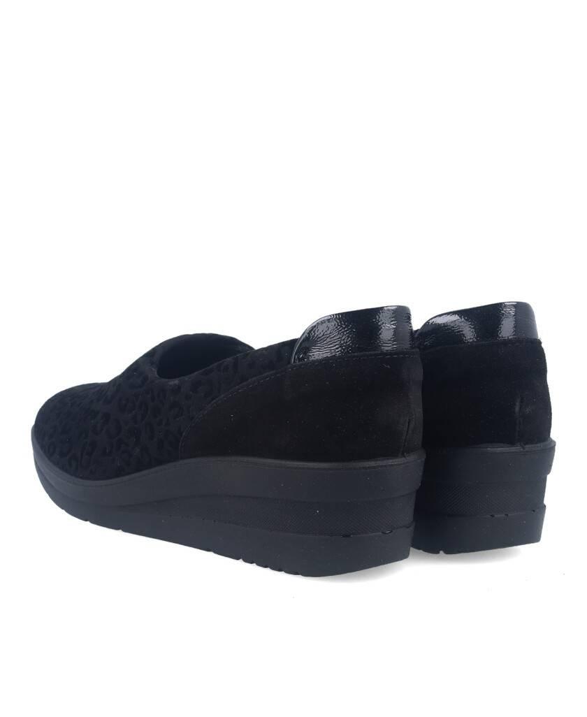 Zapatos para mujer en color negro Caracteristicas elastico cuna 5 cm zapato de estilo casual suela de goma exterior piel y licr