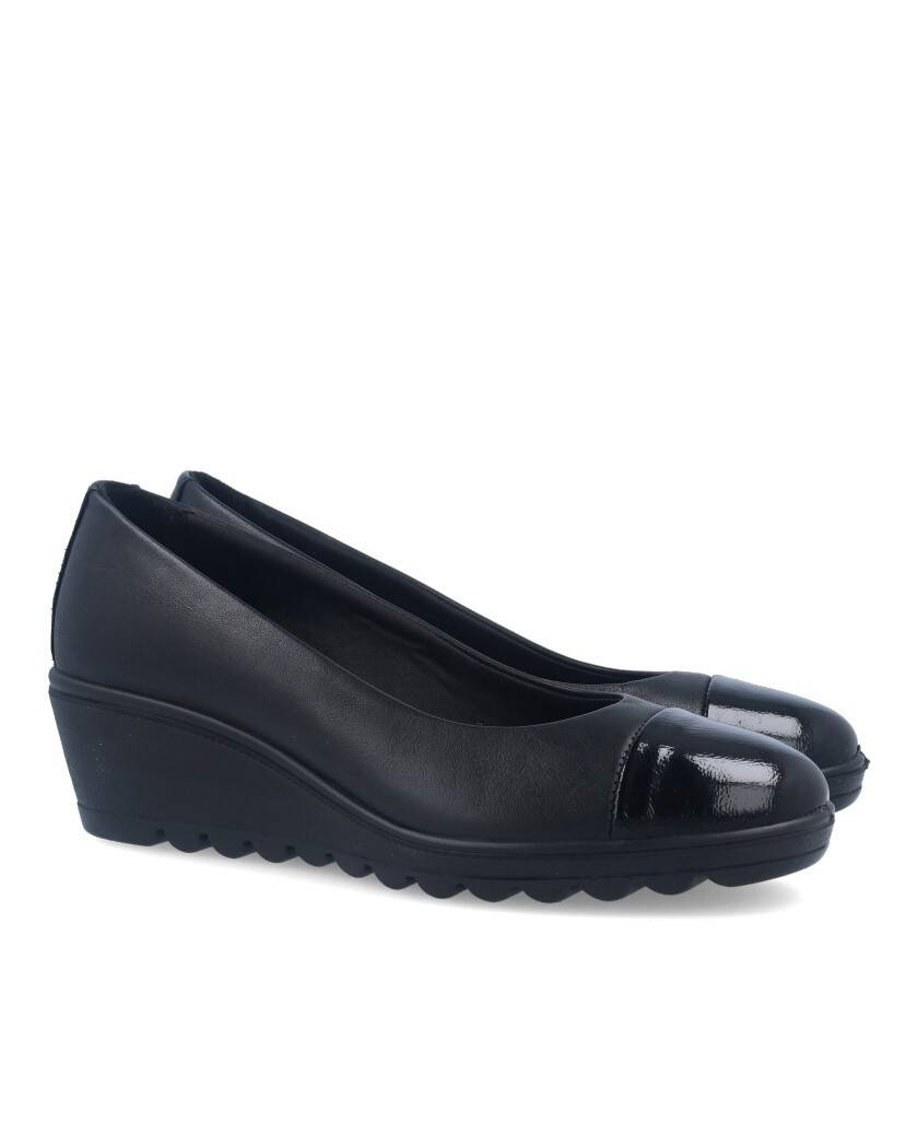 Black pumps with wedge and patent leather for women Imac 407500