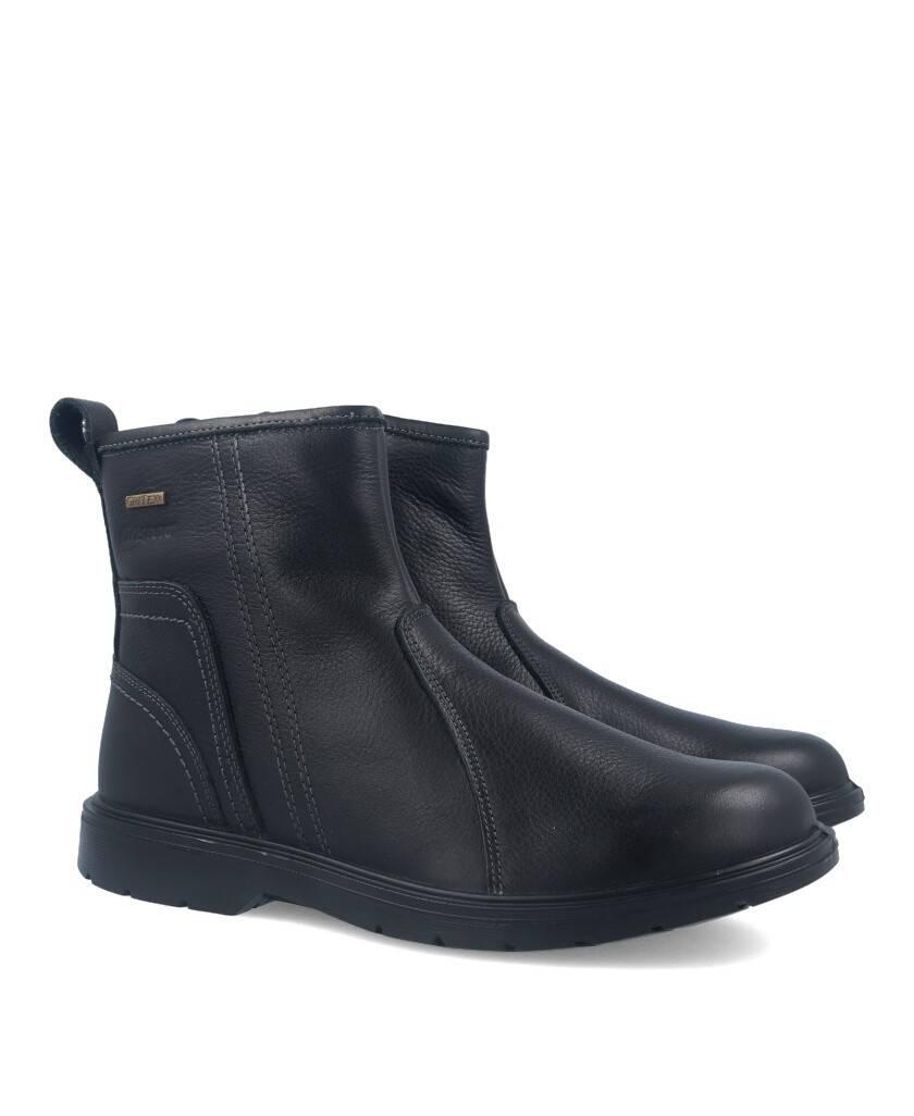 Botas de para hombre en color negro Caracteristicas con cremallera altura de piso 2 cm piso de goma termoplastica exterior piel