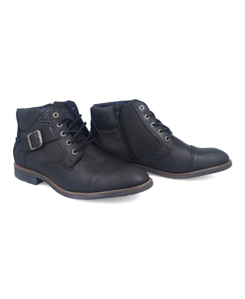 Botas para hombre en color negro Caracteristicas con cordones tacon 3 cm zapato de estilo casual suela de goma exterior piel e