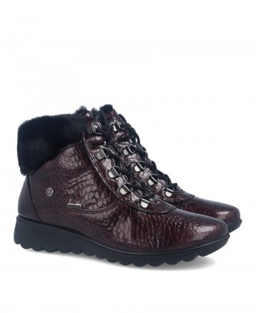 Burgundy fur collar women's ankle boots Imac 407338