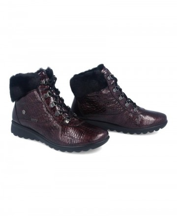 Catchalot Burgundy fur collar women's ankle boots Imac 407338