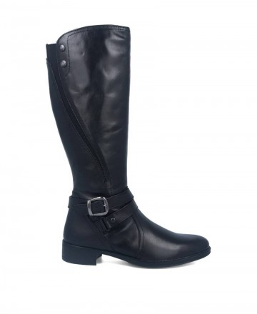 Black leather flat boots Myers L-046 W13107-A