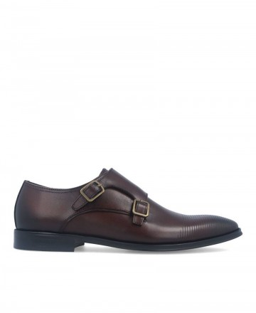 Hobbs men's brown double buckle shoes MA067203-14609