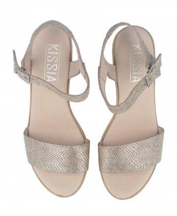 Catchalot Golden sandals with wedge Kissia