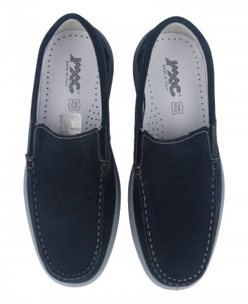 Catchalot Men's suede leather loafers in navy blue Imac 501052