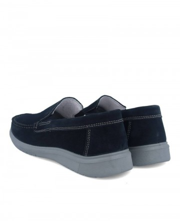Men's suede leather loafers in navy blue Imac 501052