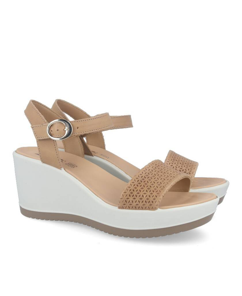 Women's wedge sandals with chopped strap in leather color Imac 508410