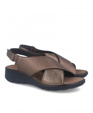 Women's sandals with crossed leather straps on the upper Imac 508690 bronze