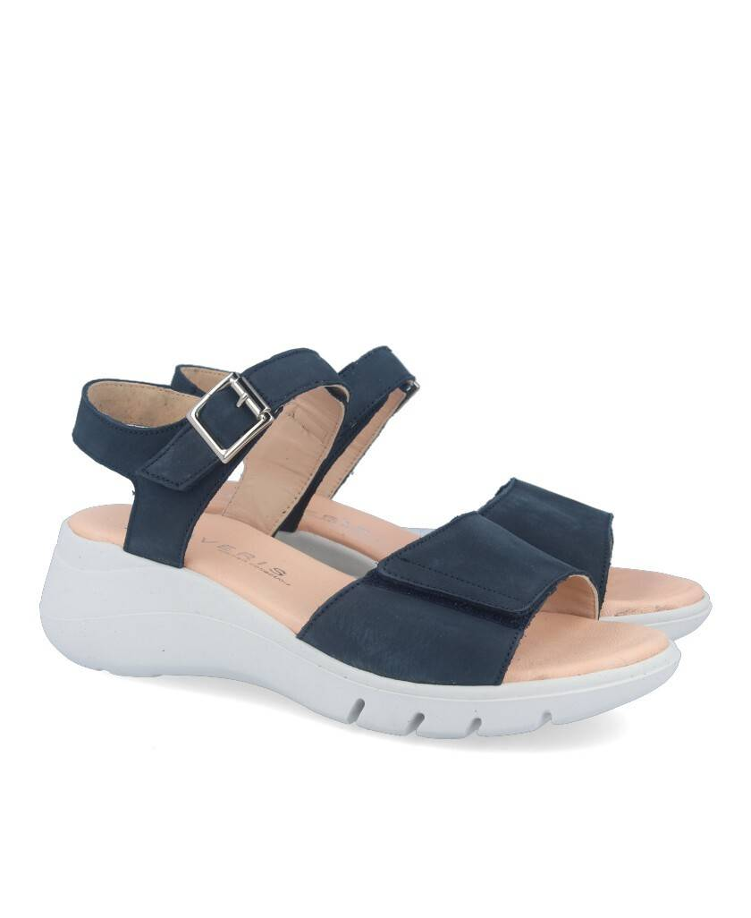 Traveris 63/1622 navy blue wedge sandals