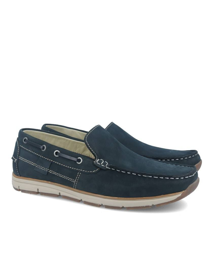 Traveris 2979 navy blue leather loafer