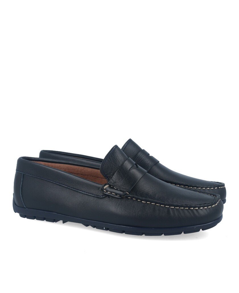 Blue leather loafers Catchalot 81365