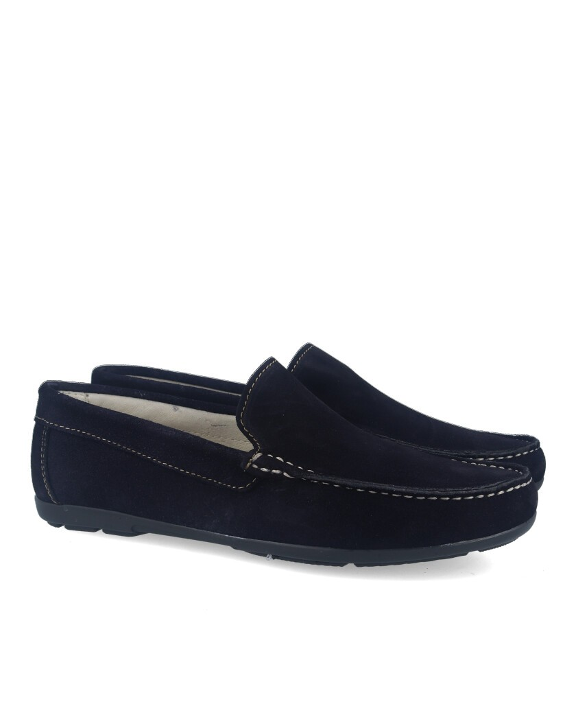 Catchalot navy blue suede loafers 80737