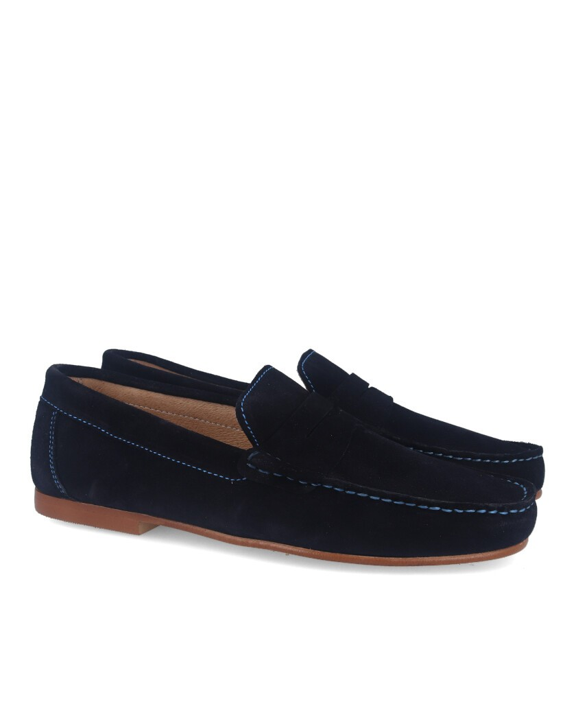 Suede leather moccasin Blue Catchalot 81946