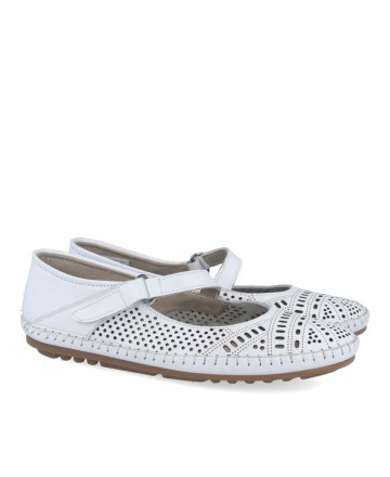 White flat ballerinas for women Himalaya 5517