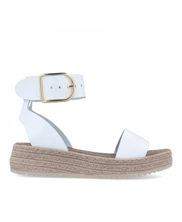 Leather espadrilles with flat platform in white color Andares 882903