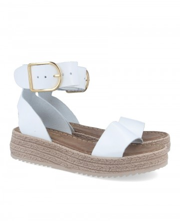 Catchalot Leather espadrilles with flat platform in white color Andares 882903