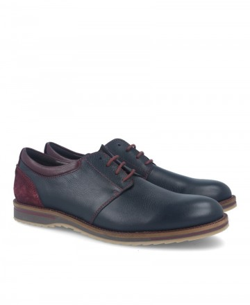 Casual leather shoes for men in navy blue Kennebec 4040
