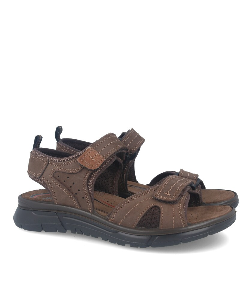 Sandals with velcro closure in brown color Imac 504070