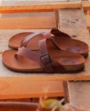 Sandalias Interbios 7119 para mujer tipo esclavas en color cuero