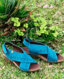 Leather sandals with crossed straps on the upper navy blue Jungla 6882.180.61