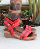 Jungle Red Leather Half Wedge Sandals 6883-180-25