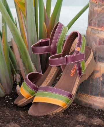 Catchalot Wedge sandals for women in multi color Jungle 6883-180-25