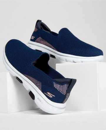 Catchalot Zapatillas azules sin cordones Skechers Go Walk 5 Prized 15900