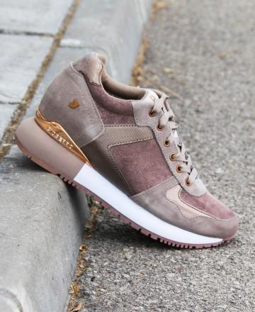 Catchalot Zapatos cuña interna de mujer en color taupe Gioseppo Havelange 60833