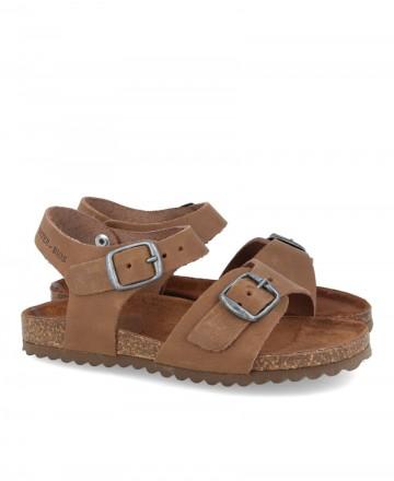 Sandalia de piel con hebillas Inter-Bios 7148N