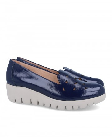 Wonders C-33245 patent leather loafers blue