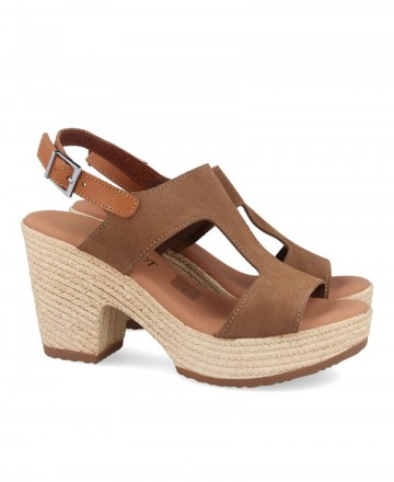 Brown leather sandal with heel Catchalot 4883-1