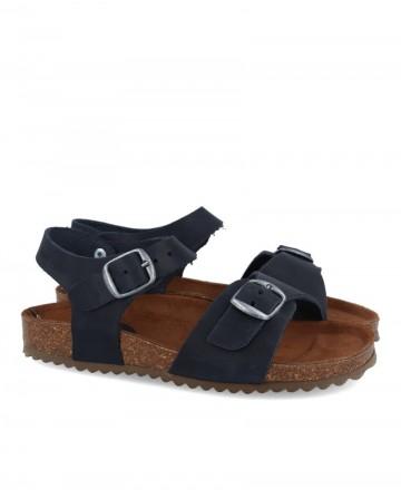 Boy leather sandals Inter-Bios 7148 blue