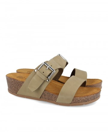 Sandals with low wedge bio and buckle Pitillos 6832