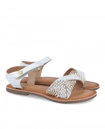 White leather flat sandals for girls Gioseppo 62438 Benodet