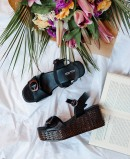 Tambi Urban black wedge sandals