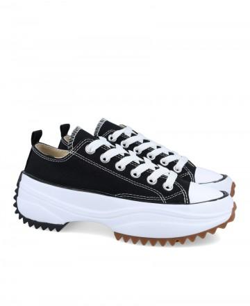 Black platform textile sneakers JW0603-02