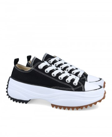 Zapatillas textiles con plataforma negras JW0603-02