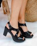 Black leather strap shoes KISSIA 450-R